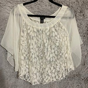 S cream flowy lace top